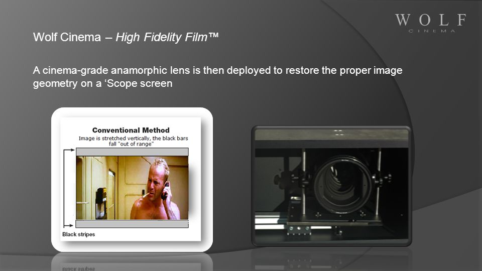Wolf Cinema – High Fidelity Film A cinema-grade anamorphic lens is then deployed to restore the proper image geometry on a Scope screen