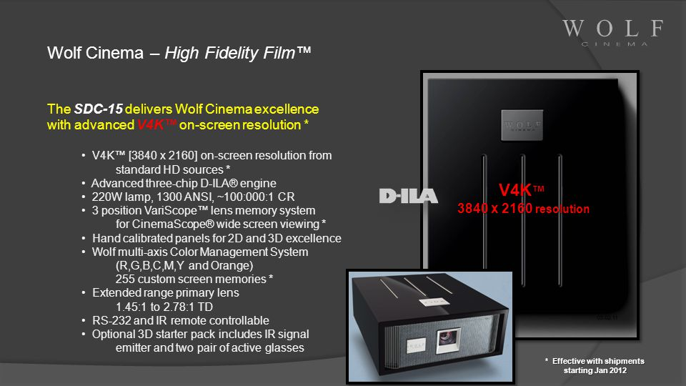 Wolf Cinema – High Fidelity Film The SDC-15 delivers Wolf Cinema excellence with advanced V4K on-screen resolution * V4K [3840 x 2160] on-screen resol