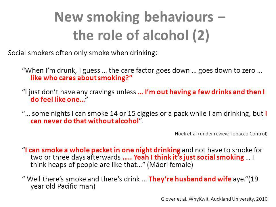 New smoking behaviours – the role of alcohol (3) Drinking undermines quitting: Thats the other thing.