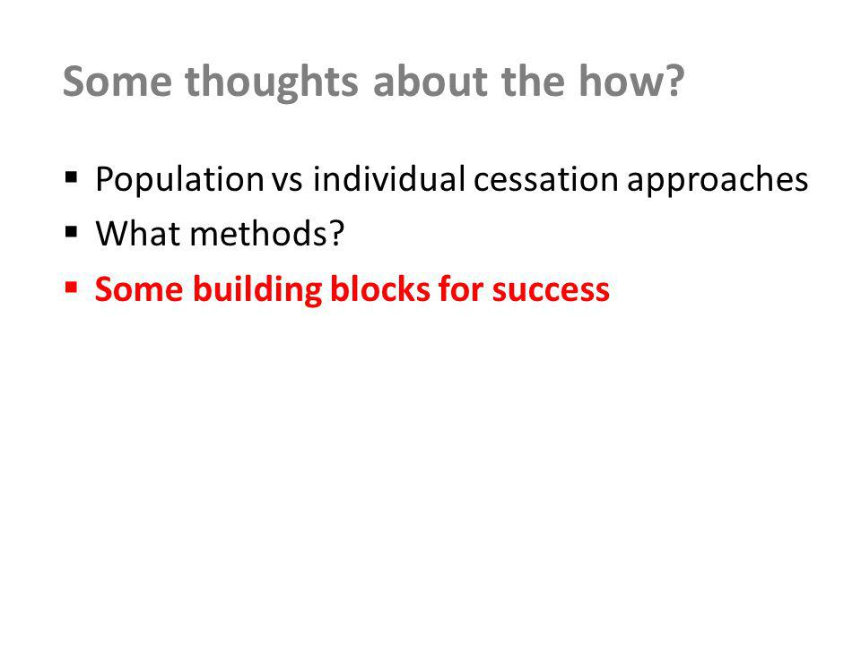 Building block 1: Ongoing generation and use of evidence Generate, disseminate and use evidence of effectiveness at population level and for impact on priority populations Systematic evaluation culture Ongoing research to identify and scope new challenges and issues Monitoring of progress at population level, including: Overarching key markers of denormalisation and social norms (e.g.