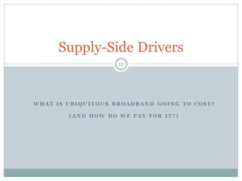 WHAT IS UBIQUITOUS BROADBAND GOING TO COST? (AND HOW DO WE PAY FOR IT?) 10 Supply-Side Drivers