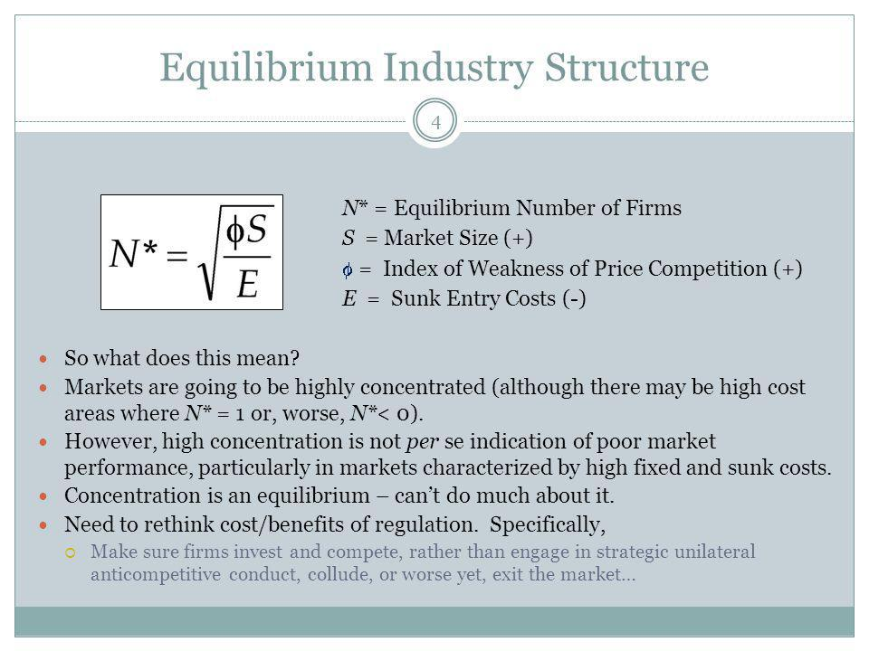 Equilibrium Industry Structure 4 So what does this mean? Markets are going to be highly concentrated (although there may be high cost areas where N* =