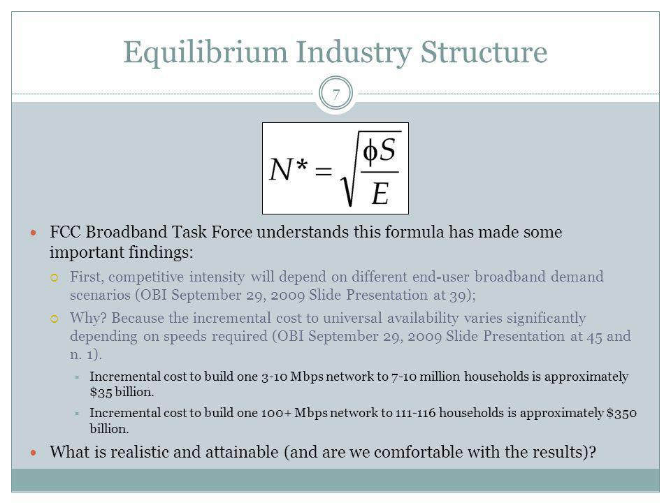 Equilibrium Industry Structure 7 FCC Broadband Task Force understands this formula has made some important findings: First, competitive intensity will