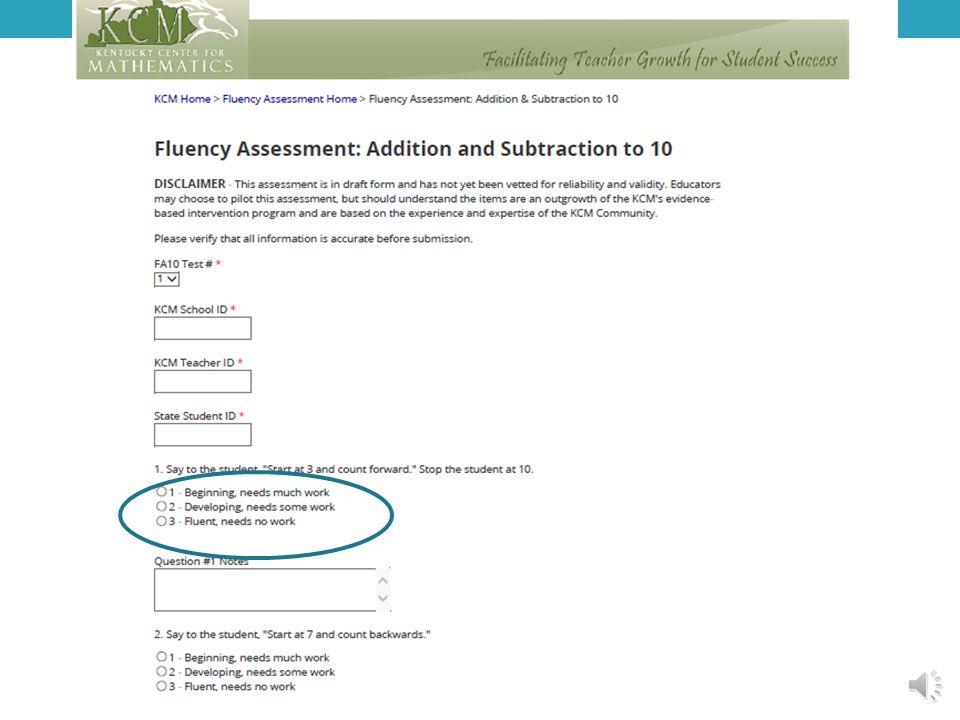 FORWARD WITH FLUENCY Fluency Assessment Scoring