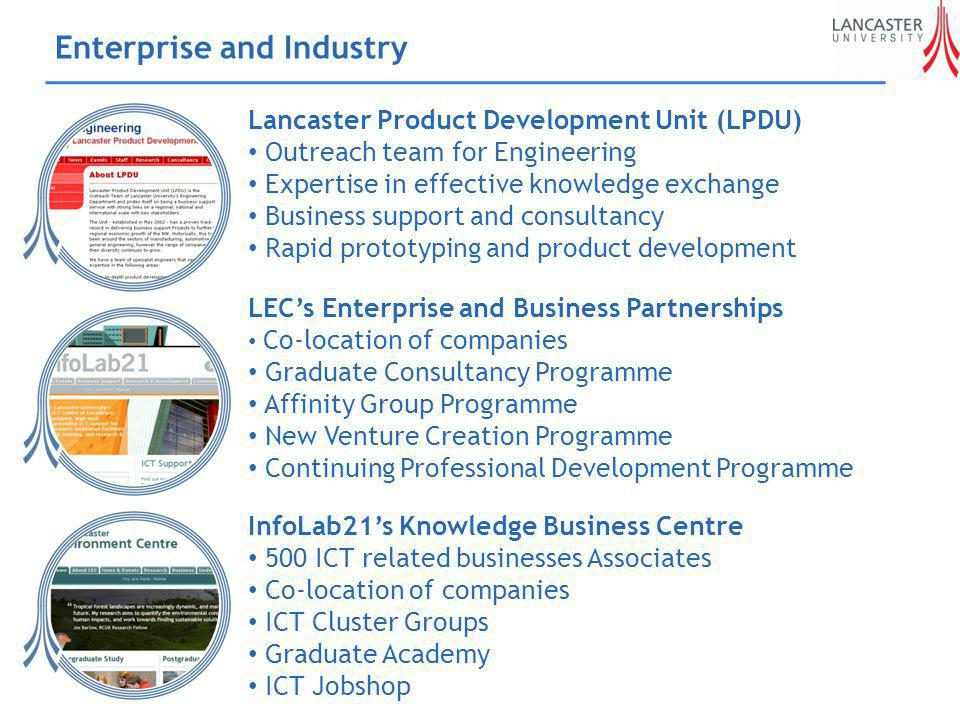 Enterprise and Industry Lancaster Product Development Unit (LPDU) Outreach team for Engineering Expertise in effective knowledge exchange Business support and consultancy Rapid prototyping and product development LECs Enterprise and Business Partnerships Co-location of companies Graduate Consultancy Programme Affinity Group Programme New Venture Creation Programme Continuing Professional Development Programme InfoLab21s Knowledge Business Centre 500 ICT related businesses Associates Co-location of companies ICT Cluster Groups Graduate Academy ICT Jobshop