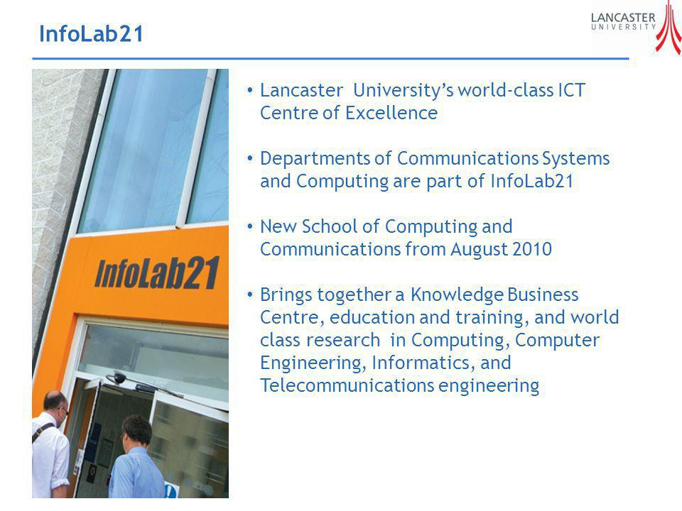 InfoLab21 Lancaster Universitys world-class ICT Centre of Excellence Departments of Communications Systems and Computing are part of InfoLab21 New School of Computing and Communications from August 2010 Brings together a Knowledge Business Centre, education and training, and world class research in Computing, Computer Engineering, Informatics, and Telecommunications engineering