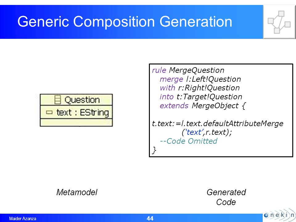 Maider Azanza Generic Composition Generation 44 rule MergeQuestion merge l:Left!Question with r:Right!Question into t:Target!Question extends MergeObject { t.text:=l.text.defaultAttributeMerge (text,r.text); --Code Omitted } MetamodelGenerated Code