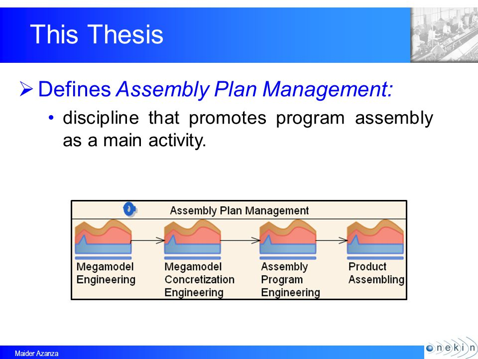 Maider Azanza This Thesis Defines Assembly Plan Management: discipline that promotes program assembly as a main activity.