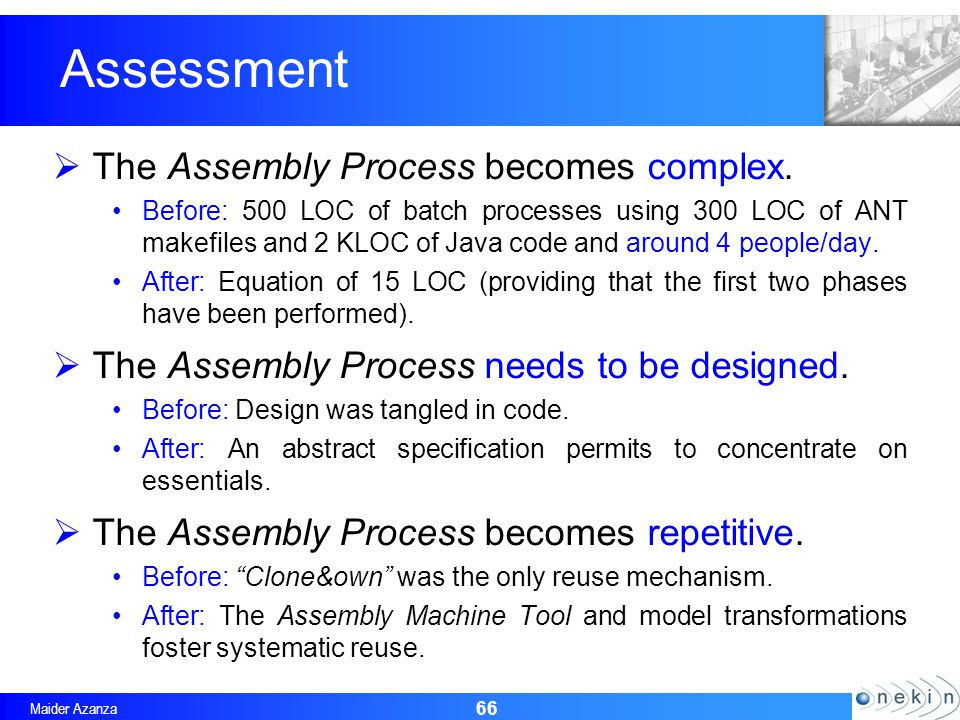 Maider Azanza 66 Assessment The Assembly Process becomes complex.