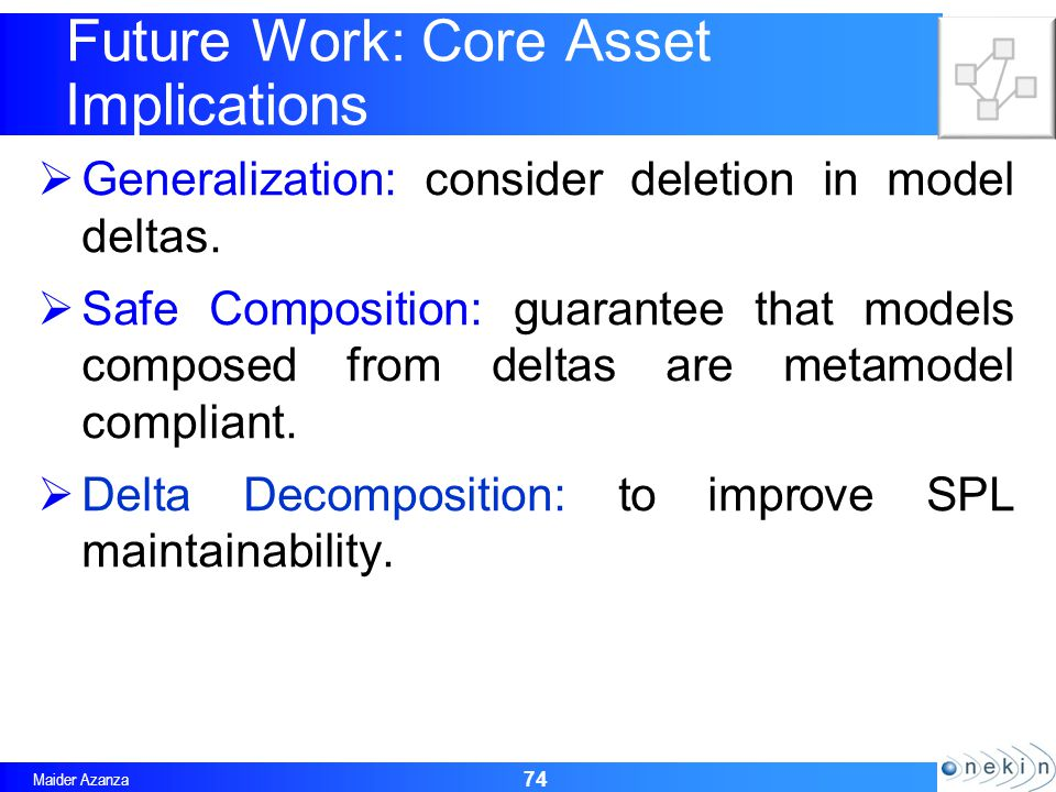 Maider Azanza Future Work: Core Asset Implications Generalization: consider deletion in model deltas.