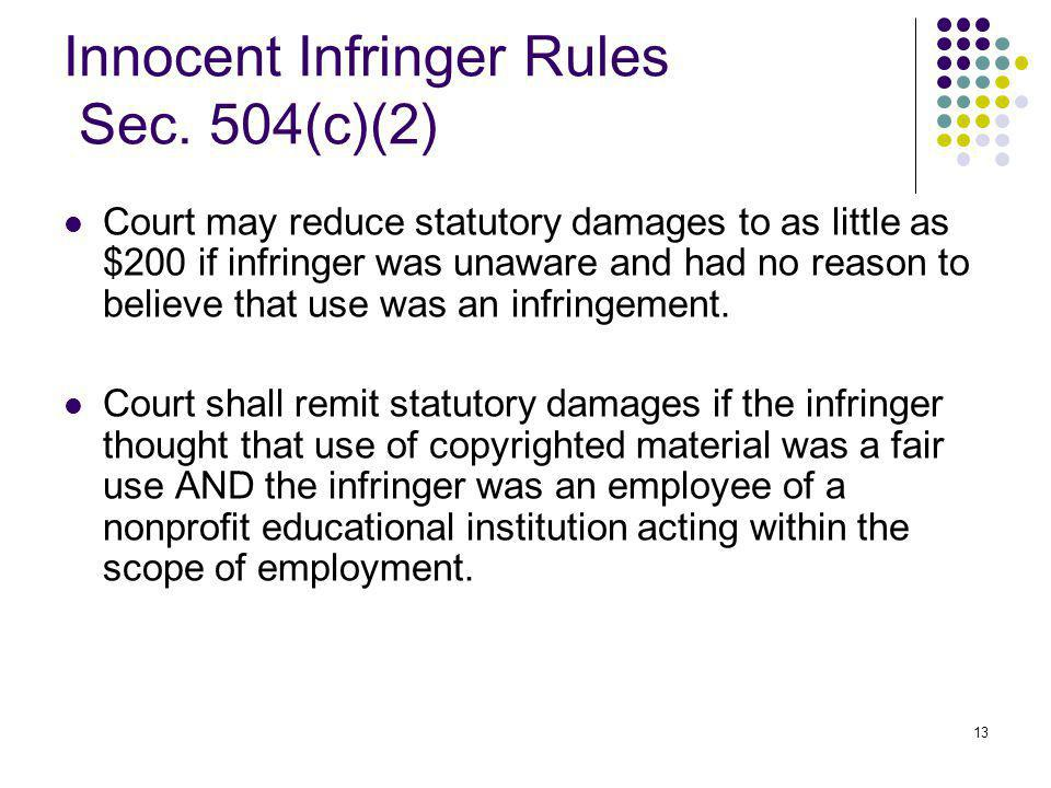 13 Innocent Infringer Rules Sec.