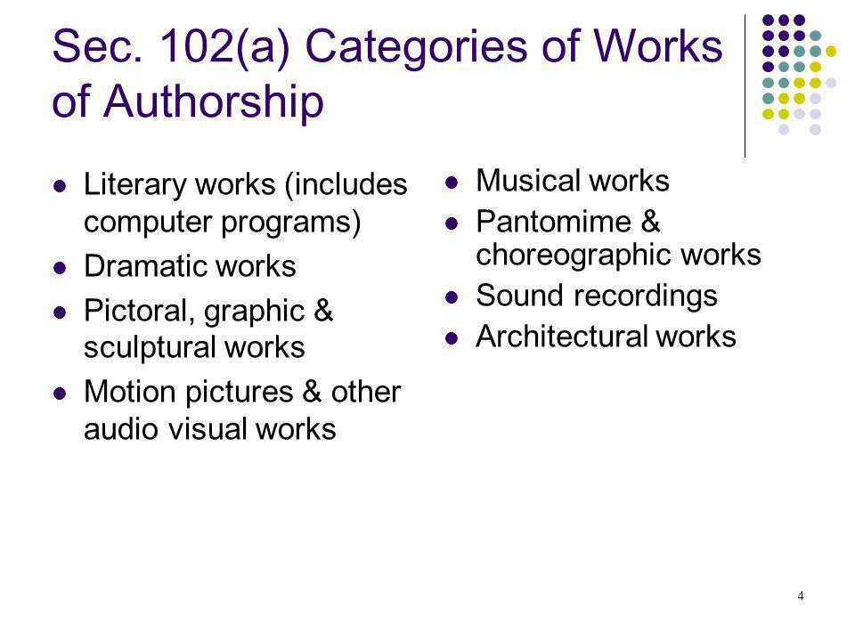 4 Sec. 102(a) Categories of Works of Authorship Literary works (includes computer programs) Dramatic works Pictoral, graphic & sculptural works Motion