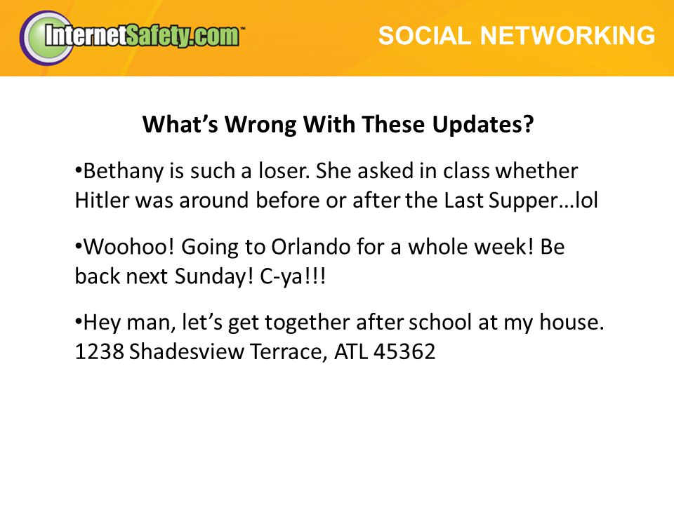 SOCIAL NETWORKING Whats Wrong With These Updates. Bethany is such a loser.