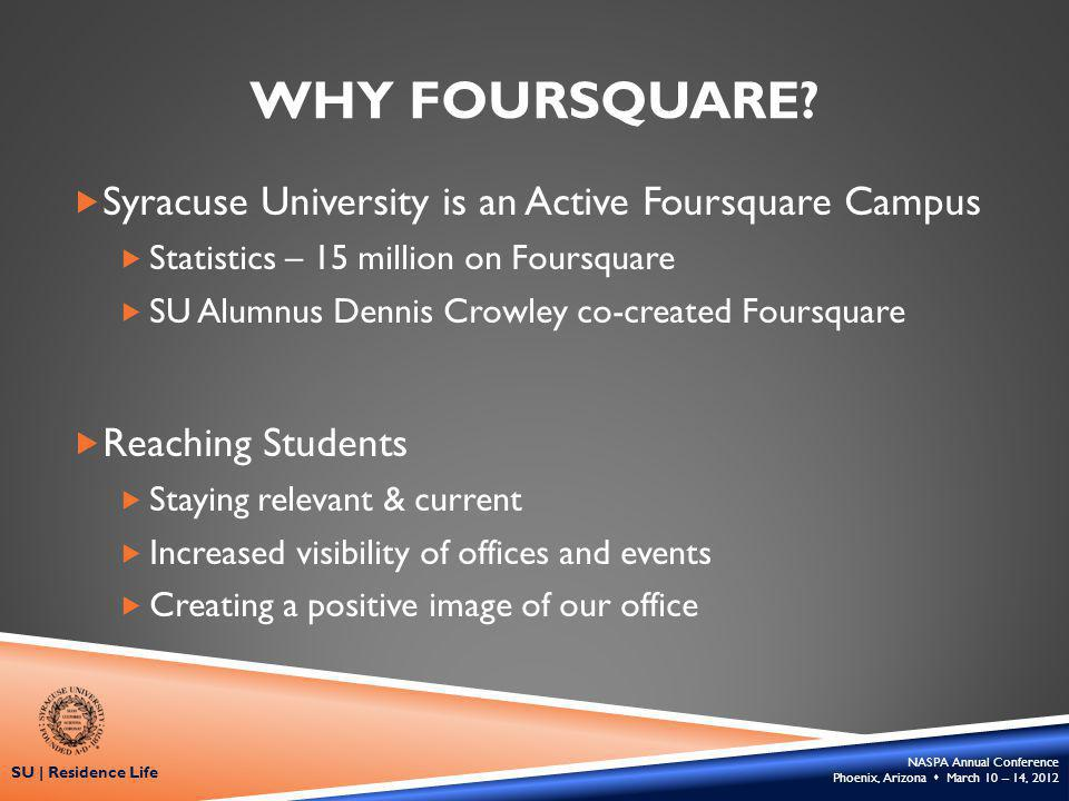 NASPA Annual Conference Phoenix, Arizona March 10 – 14, 2012 SU | Residence Life WHY FOURSQUARE.