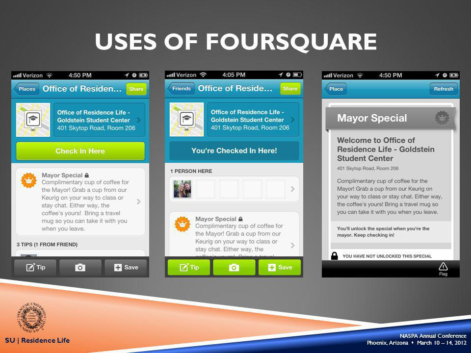 NASPA Annual Conference Phoenix, Arizona March 10 – 14, 2012 SU | Residence Life USES OF FOURSQUARE