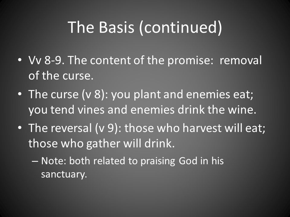 The Basis (continued) Vv 8-9. The content of the promise: removal of the curse.