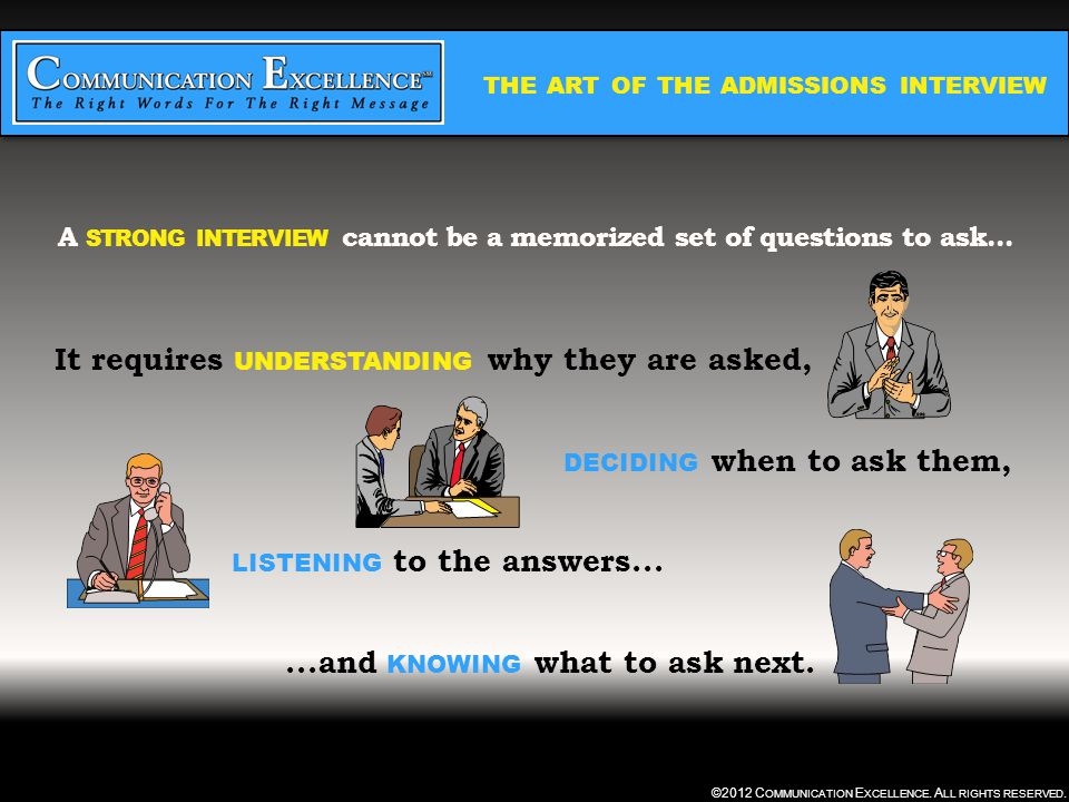 THE ART OF THE ADMISSIONS INTERVIEW ©2012 C OMMUNICATION E XCELLENCE.