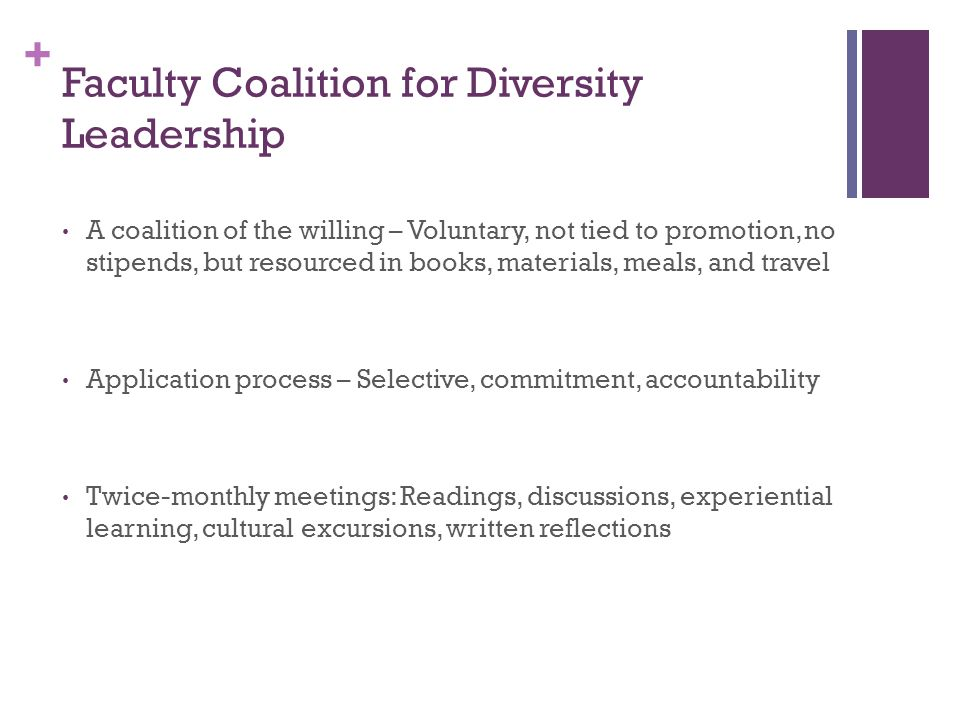 + Faculty Coalition for Diversity Leadership A coalition of the willing – Voluntary, not tied to promotion, no stipends, but resourced in books, materials, meals, and travel Application process – Selective, commitment, accountability Twice-monthly meetings: Readings, discussions, experiential learning, cultural excursions, written reflections