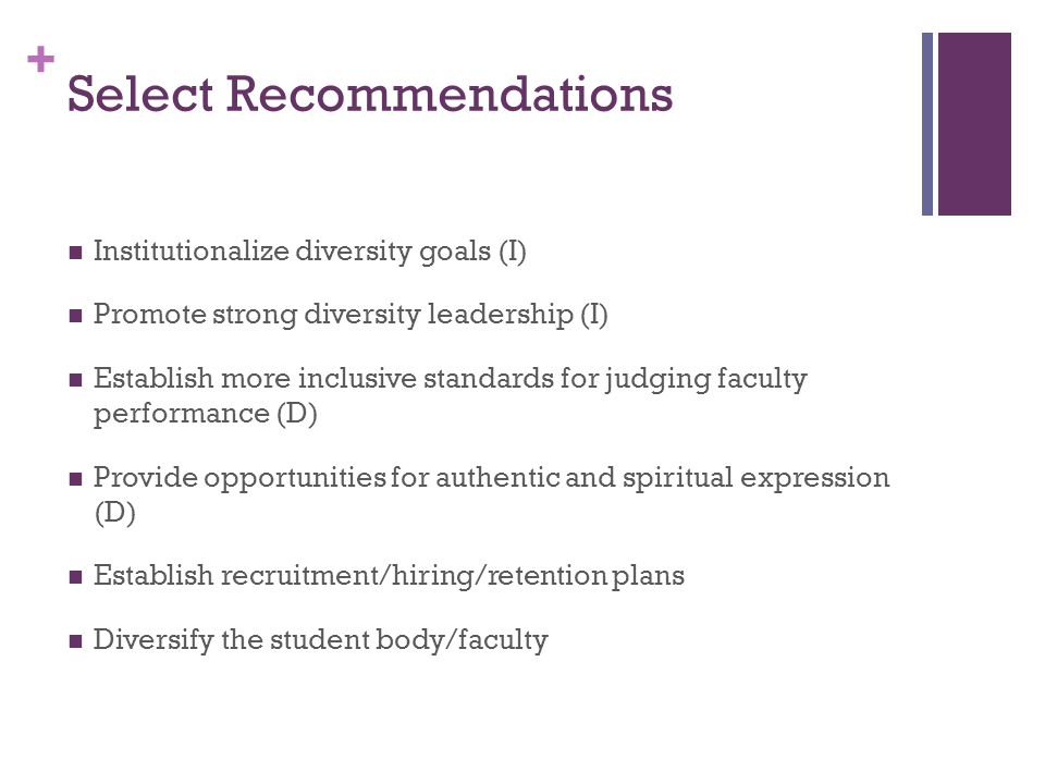 + Select Recommendations Institutionalize diversity goals (I) Promote strong diversity leadership (I) Establish more inclusive standards for judging faculty performance (D) Provide opportunities for authentic and spiritual expression (D) Establish recruitment/hiring/retention plans Diversify the student body/faculty