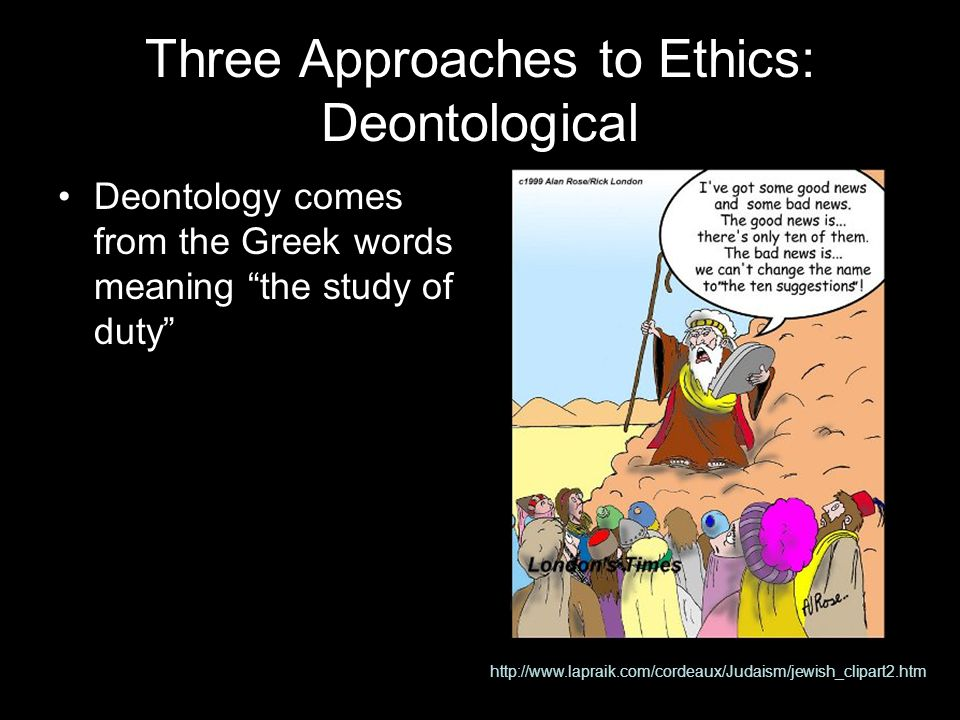 Three Approaches to Ethics: Deontological Deontology comes from the Greek words meaning the study of duty http://www.lapraik.com/cordeaux/Judaism/jewish_clipart2.htm