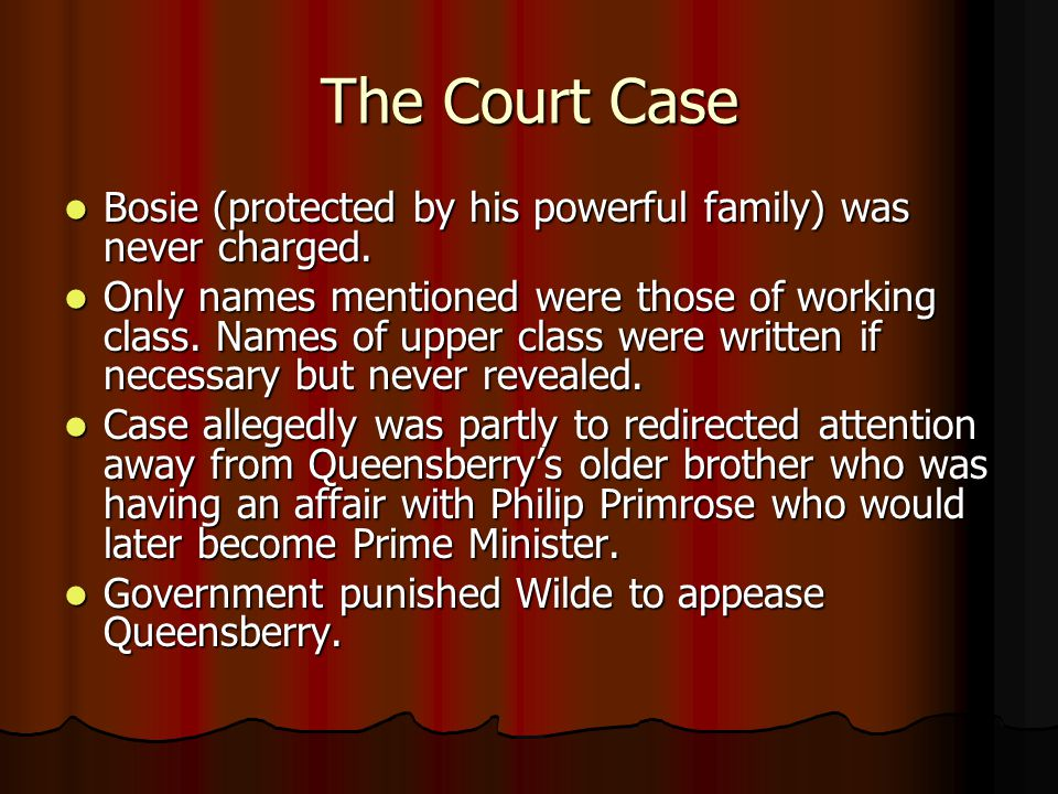 The Court Case Bosie (protected by his powerful family) was never charged.