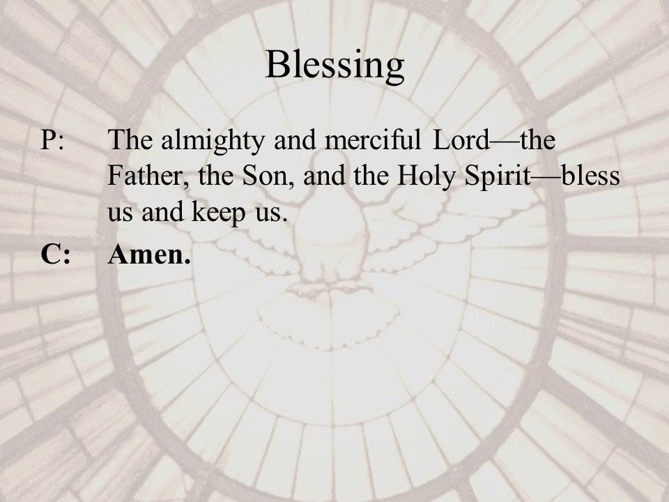 Blessing P: The almighty and merciful Lordthe Father, the Son, and the Holy Spiritbless us and keep us.