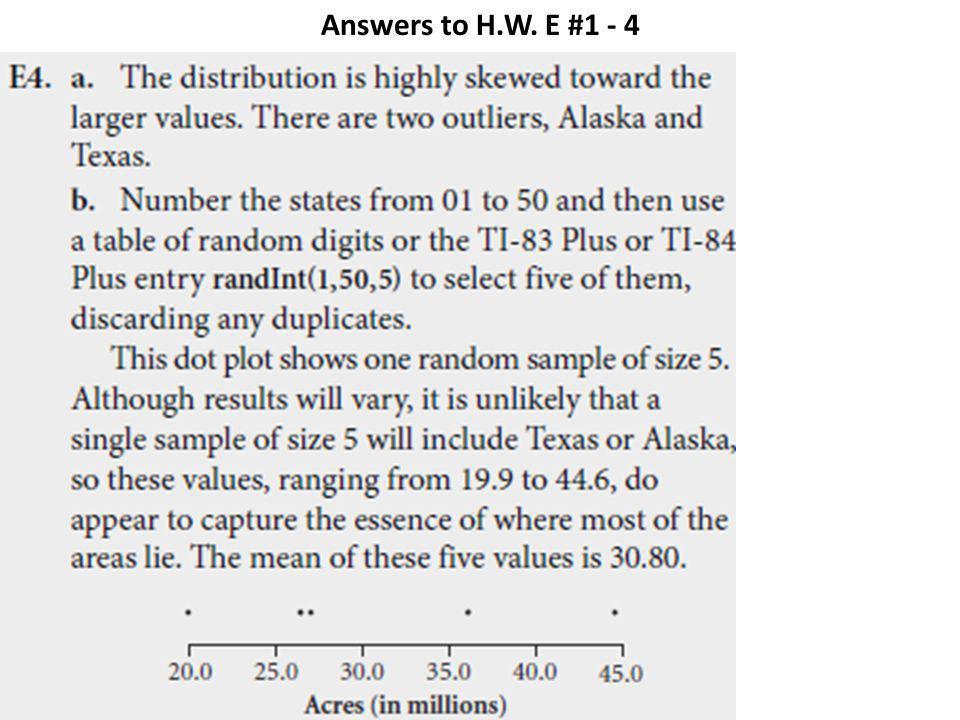 Answers to H.W. E #1 - 4