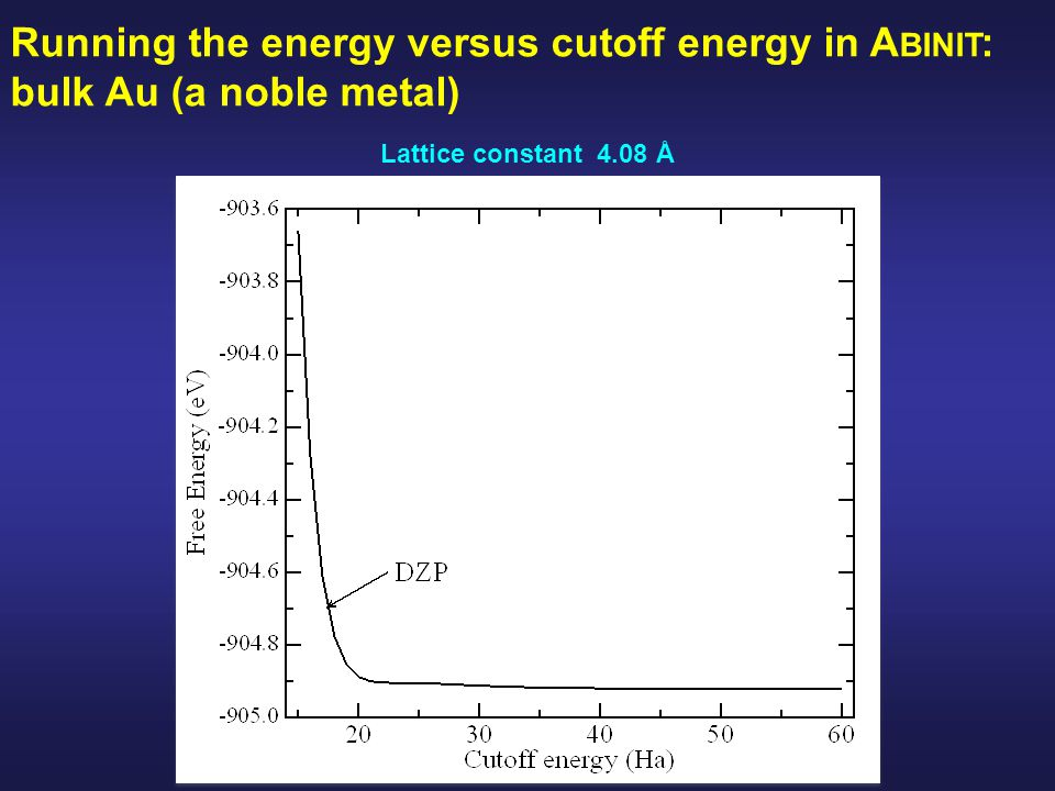 Lattice constant 4.08 Å Running the energy versus cutoff energy in A BINIT : bulk Au (a noble metal)