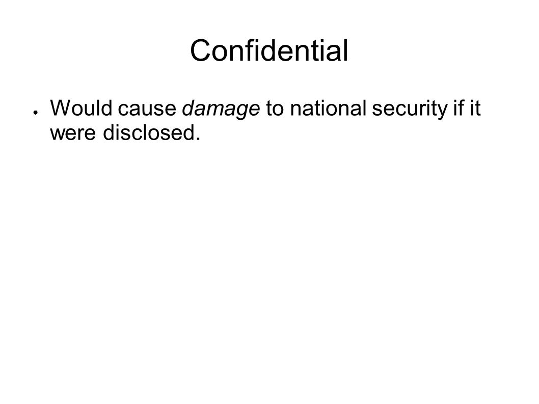 Confidential Would cause damage to national security if it were disclosed.
