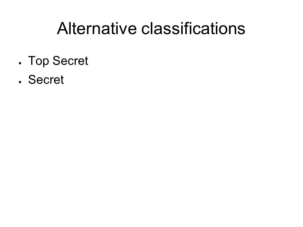 Alternative classifications Top Secret Secret