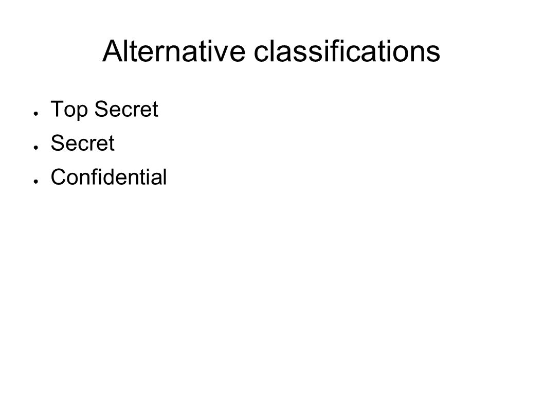 Alternative classifications Top Secret Secret Confidential