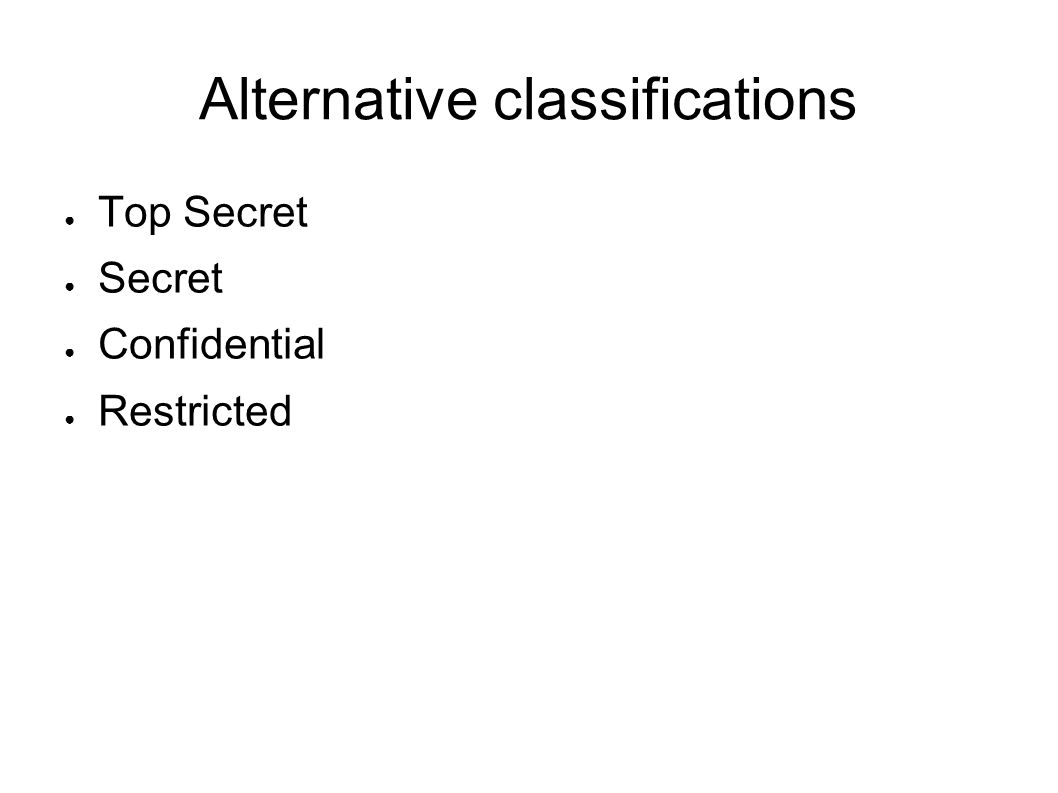 Alternative classifications Top Secret Secret Confidential Restricted
