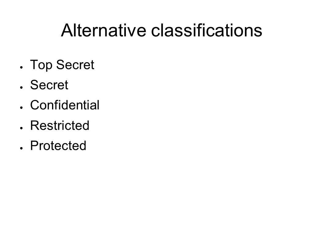 Alternative classifications Top Secret Secret Confidential Restricted Protected