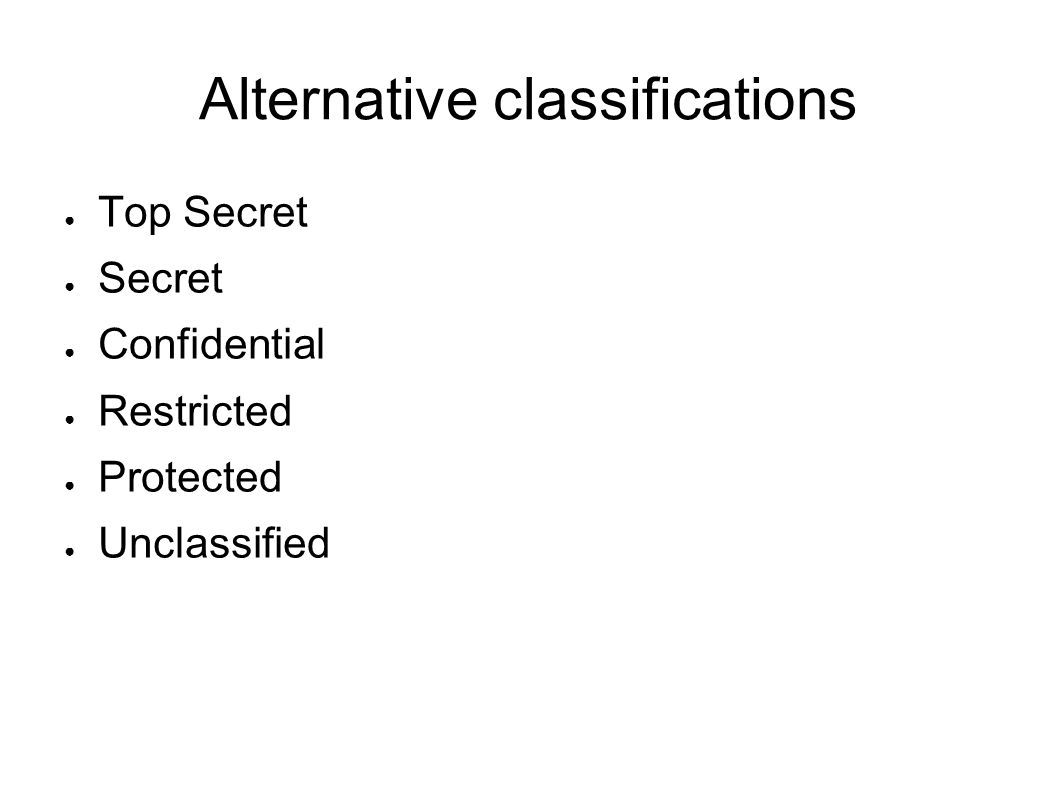 Alternative classifications Top Secret Secret Confidential Restricted Protected Unclassified