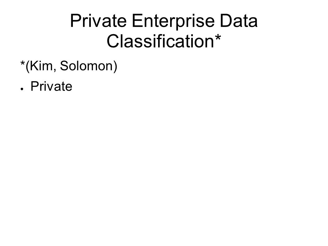 Private Enterprise Data Classification* *(Kim, Solomon) Private
