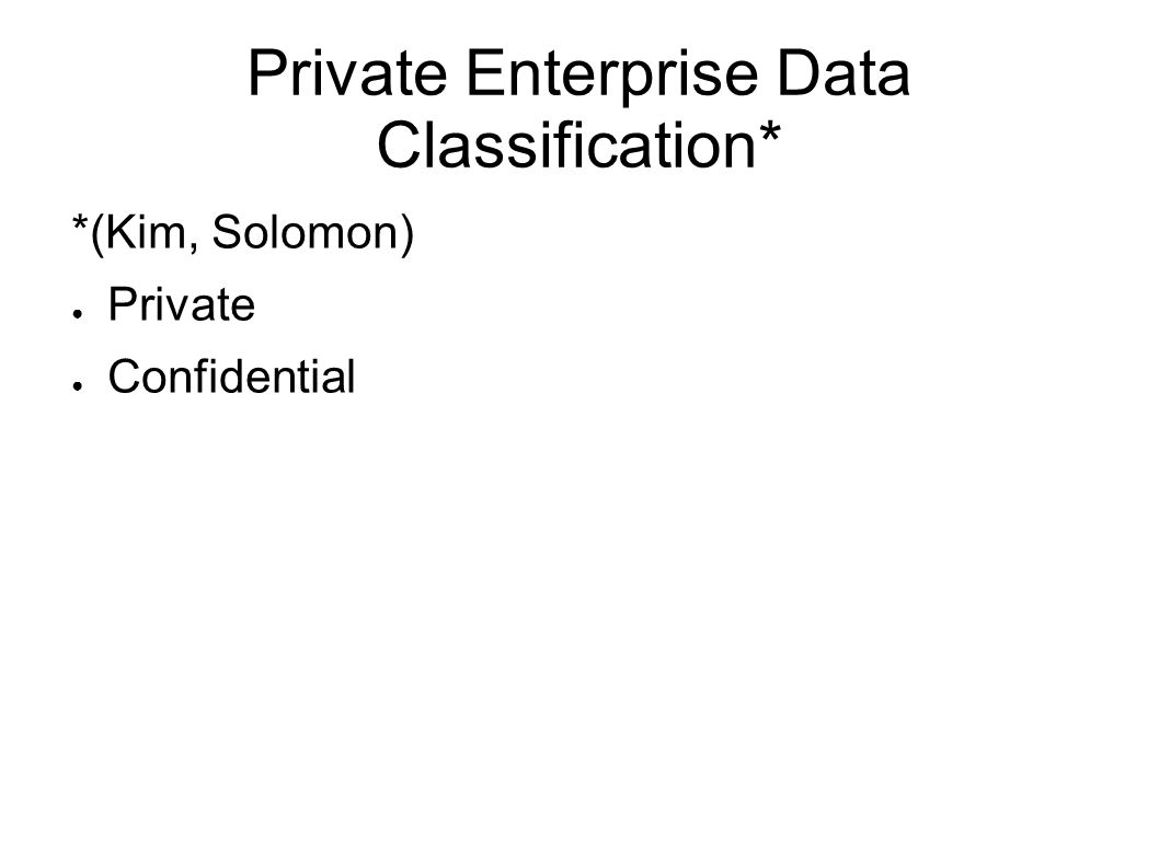 Private Enterprise Data Classification* *(Kim, Solomon) Private Confidential
