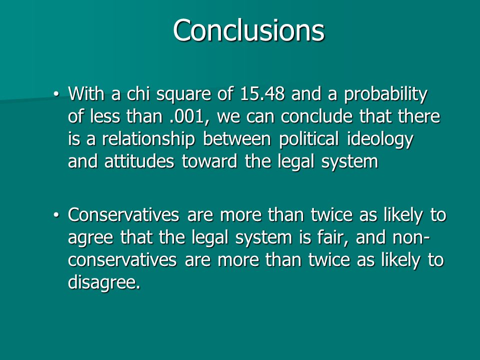 Conclusions With a chi square of 15.48 and a probability of less than.001, we can conclude that there is a relationship between political ideology and attitudes toward the legal system With a chi square of 15.48 and a probability of less than.001, we can conclude that there is a relationship between political ideology and attitudes toward the legal system Conservatives are more than twice as likely to agree that the legal system is fair, and non- conservatives are more than twice as likely to disagree.
