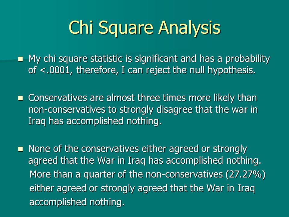 Chi Square Analysis My chi square statistic is significant and has a probability of <.0001, therefore, I can reject the null hypothesis.