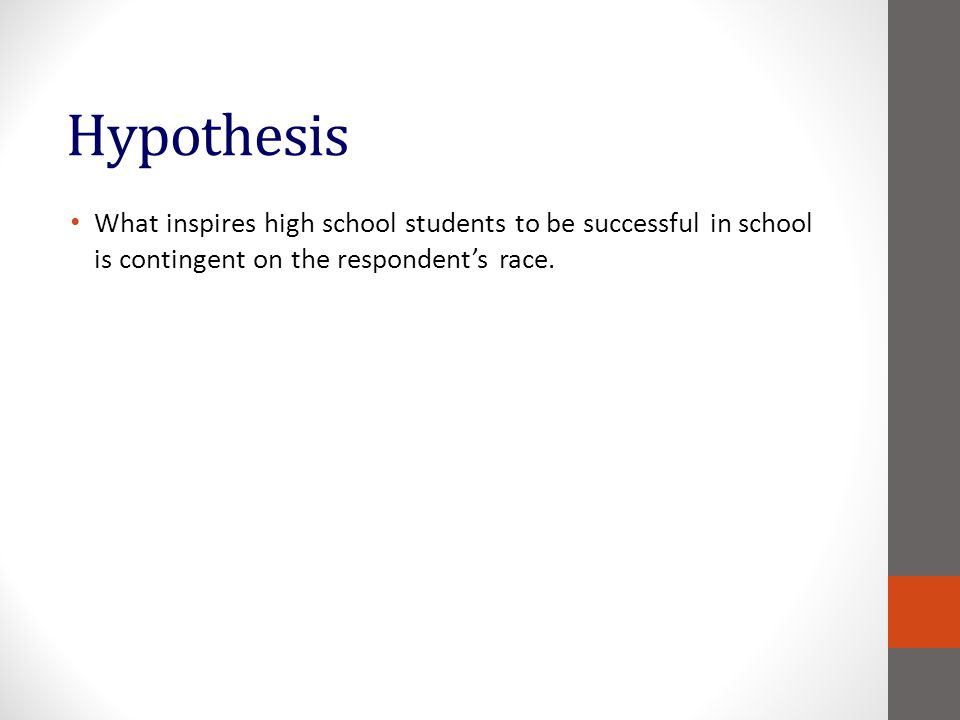 Hypothesis What inspires high school students to be successful in school is contingent on the respondents race.