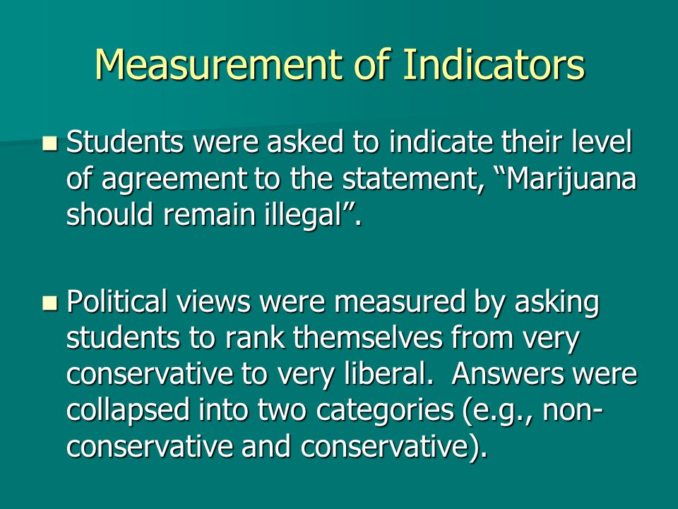 Measurement of Indicators Students were asked to indicate their level of agreement to the statement, Marijuana should remain illegal.