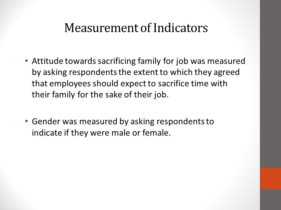 Measurement of Indicators Attitude towards sacrificing family for job was measured by asking respondents the extent to which they agreed that employees should expect to sacrifice time with their family for the sake of their job.