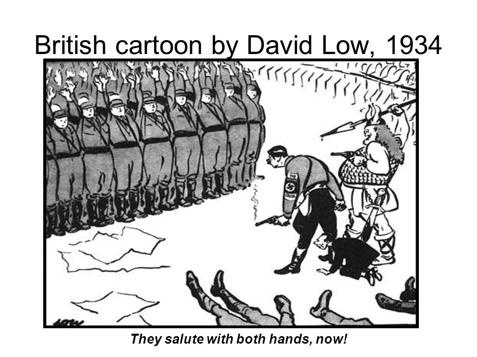 British cartoon by David Low, 1934 They salute with both hands, now!