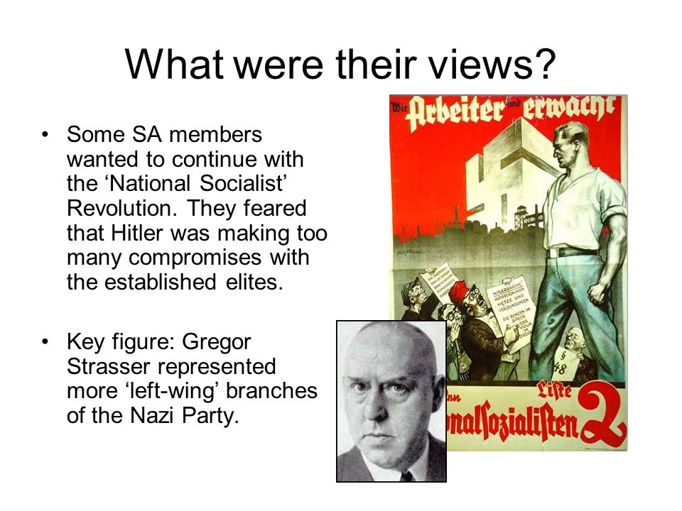 What were their views? Some SA members wanted to continue with the National Socialist Revolution. They feared that Hitler was making too many compromi