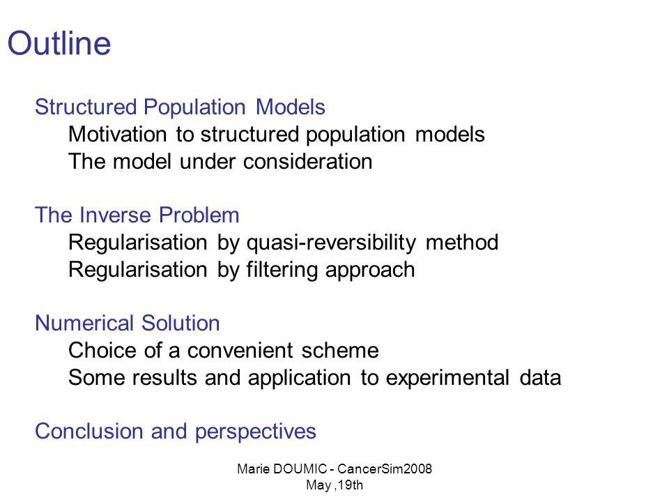 Marie DOUMIC - CancerSim2008 May,19th Numerical Scheme: steps 1.