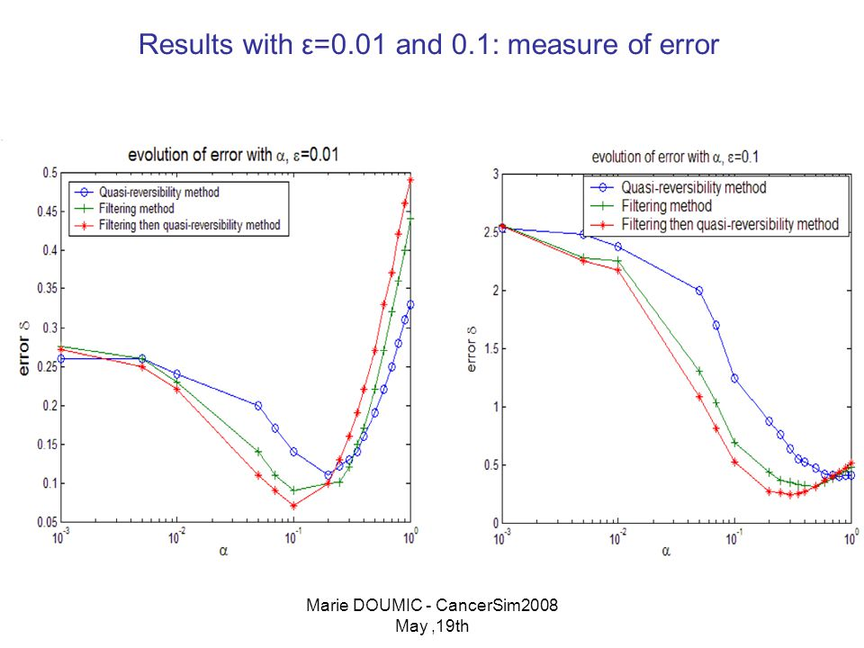 Marie DOUMIC - CancerSim2008 May,19th Results with ε=0.01 and 0.1: measure of error