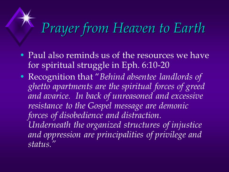 Prayer from Heaven to Earth Paul also reminds us of the resources we have for spiritual struggle in Eph.