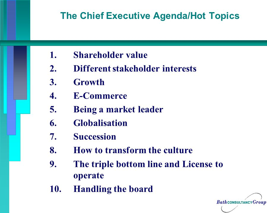 The Chief Executive Agenda/Hot Topics 1.Shareholder value 2.Different stakeholder interests 3.Growth 4.E-Commerce 5.Being a market leader 6.Globalisation 7.Succession 8.How to transform the culture 9.The triple bottom line and License to operate 10.Handling the board