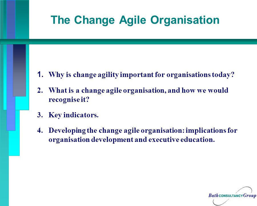 Implications for the Change Agile Executive Development Institute Partner, not supplier, working jointly to: Build the internal change capability of organisations Co-design and refine the change architecture Support the integration of line management with the development of specialised change teams Help create key components of the change process Deliver programmes to enhance change management skills and to support change – including coaching, mentoring and action learning