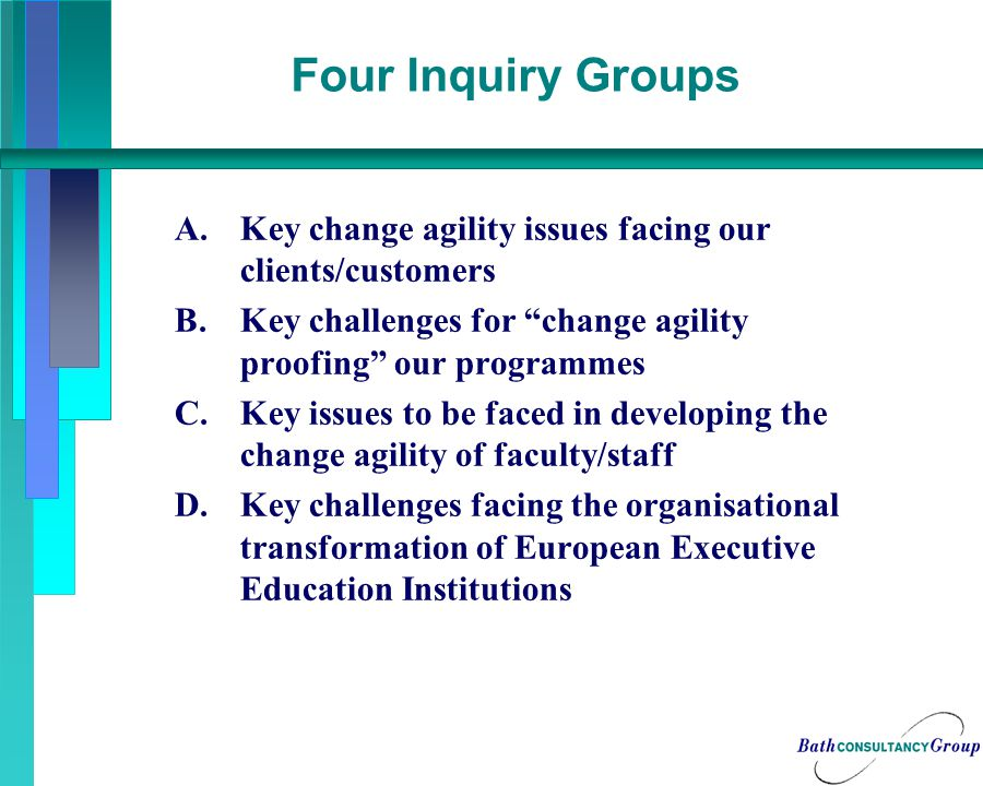 Four Inquiry Groups A.Key change agility issues facing our clients/customers B.Key challenges for change agility proofing our programmes C.Key issues to be faced in developing the change agility of faculty/staff D.Key challenges facing the organisational transformation of European Executive Education Institutions