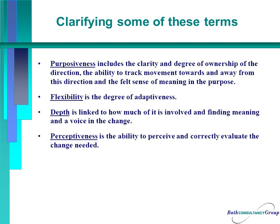 Clarifying some of these terms Purposiveness includes the clarity and degree of ownership of the direction, the ability to track movement towards and away from this direction and the felt sense of meaning in the purpose.